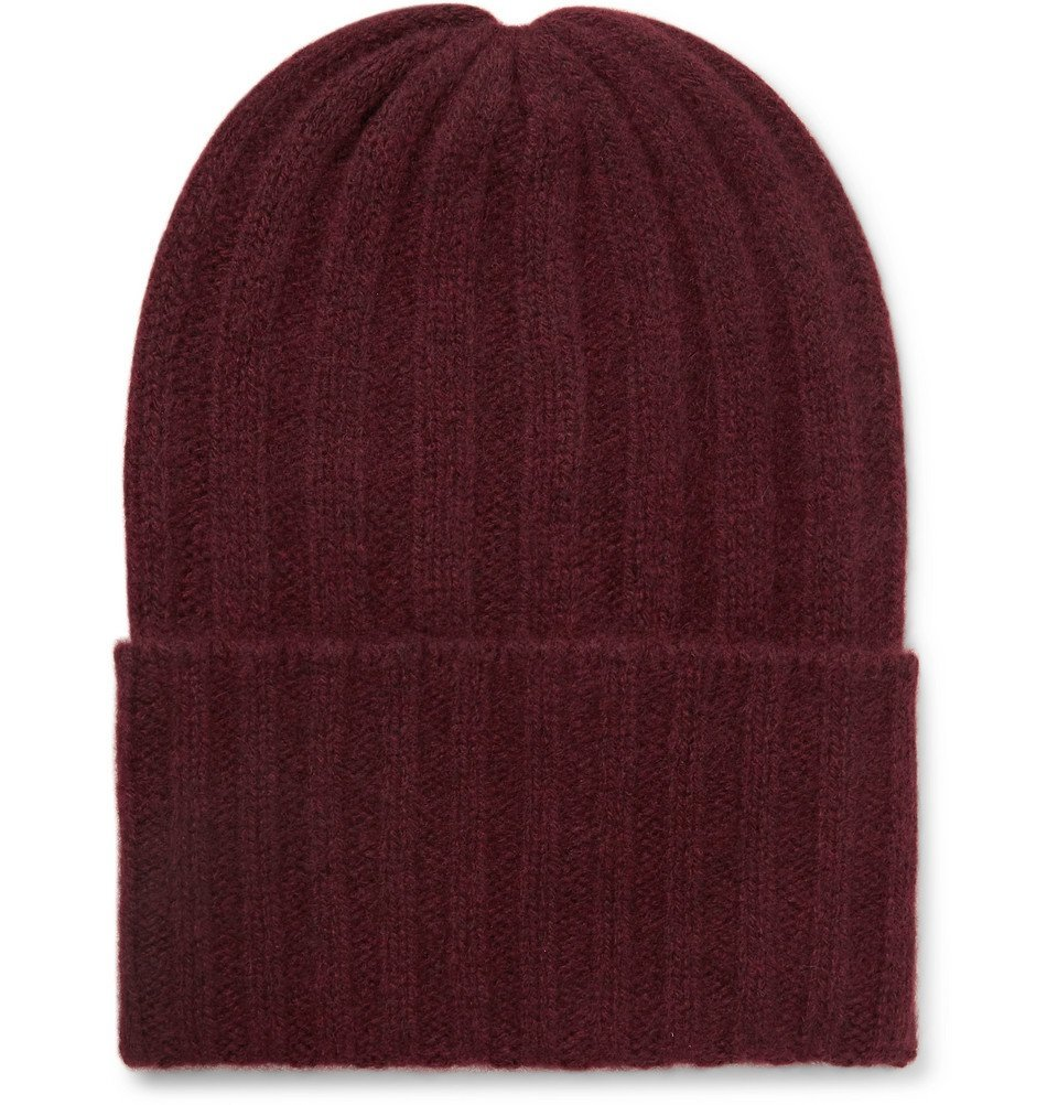 Photo: The Elder Statesman - Short Bunny Echo Ribbed Cashmere Beanie - Burgundy