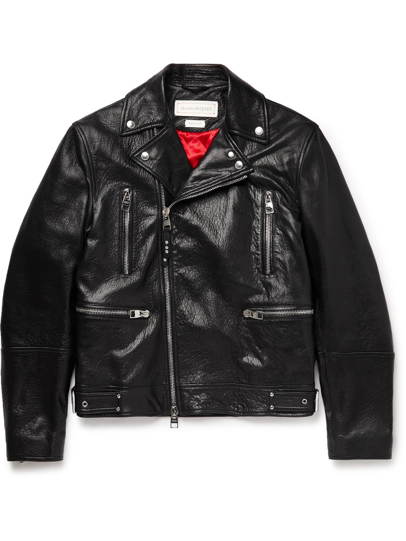Photo: ALEXANDER MCQUEEN - Full-Grain Leather Biker Jacket - Black