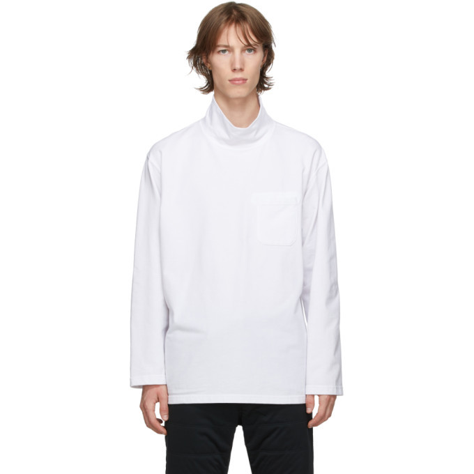 Photo: Engineered Garments White Mock Neck Long Sleeve T-Shirt