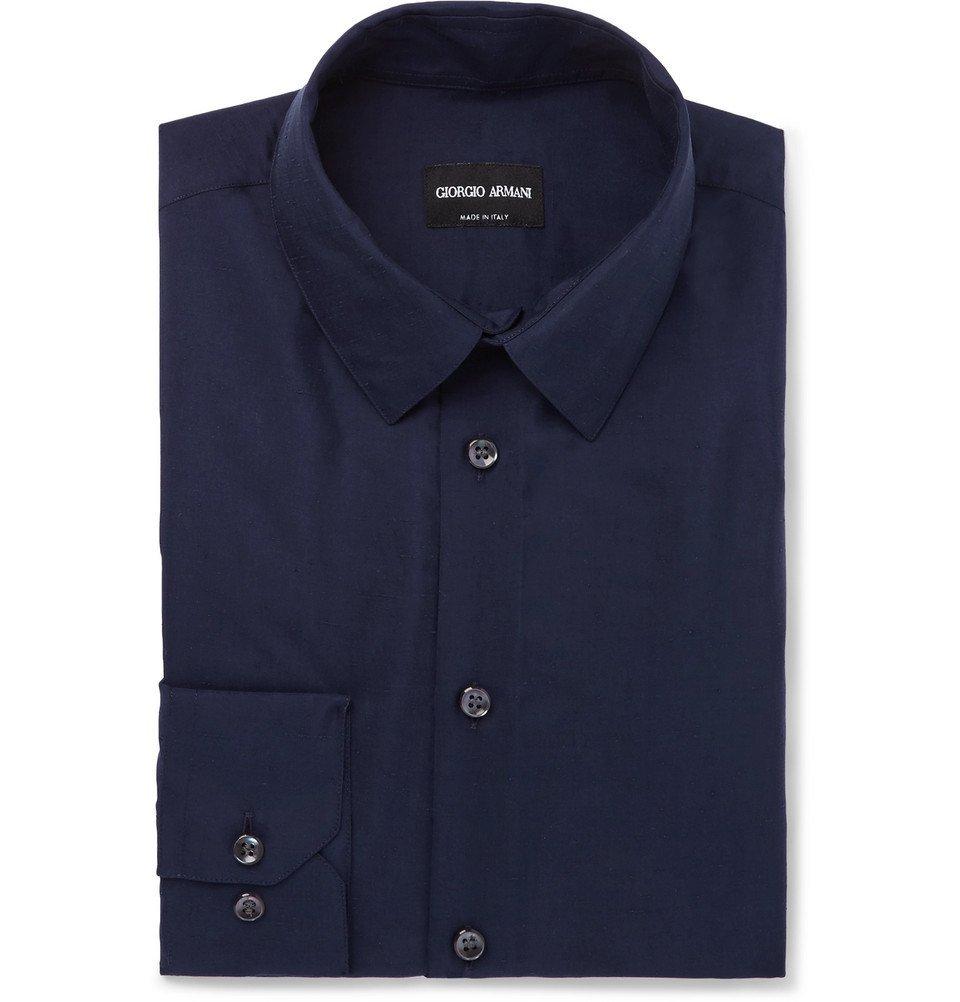 Giorgio Armani - Dark-Blue Slim-Fit Silk-Shantung Shirt - Men - Blue