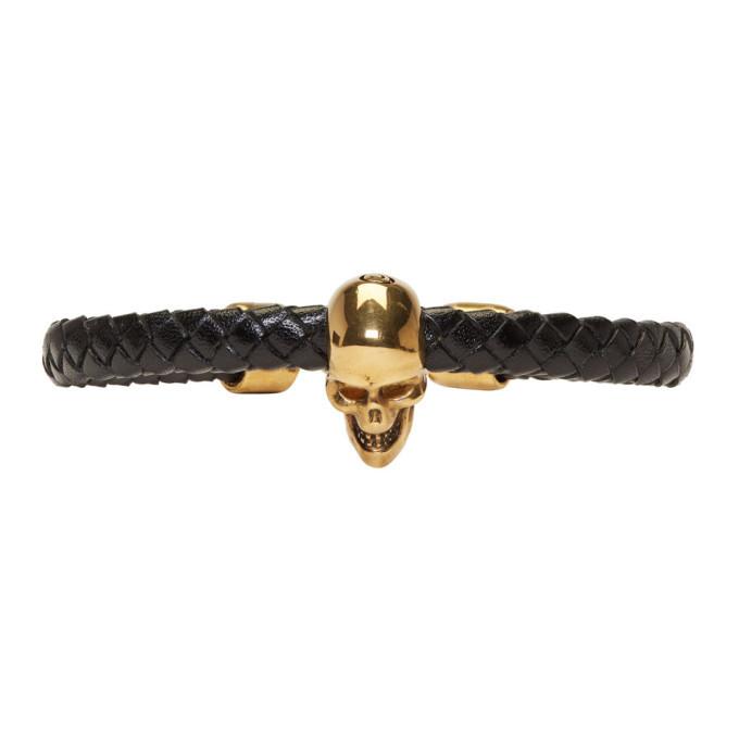 Photo: Alexander McQueen Black and Gold Braided Leather Skull Bracelet