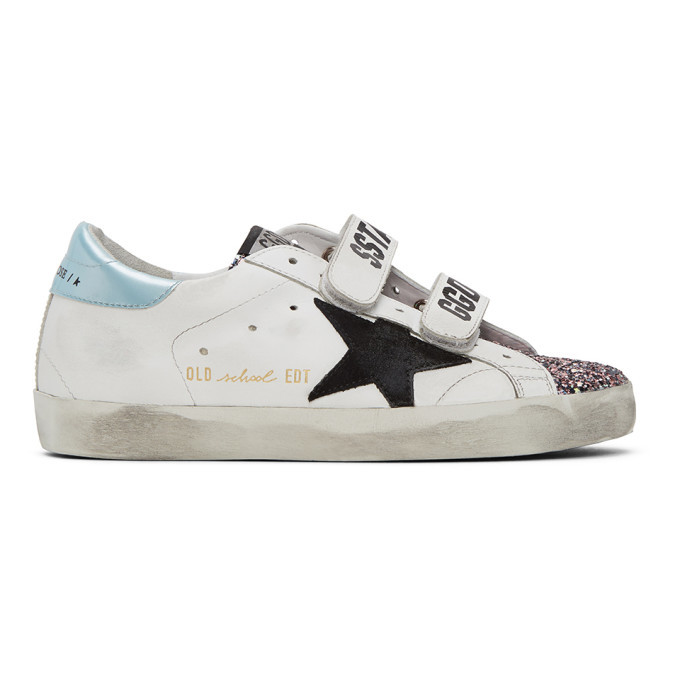 Photo: Golden Goose White Glitter Old School Sneakers