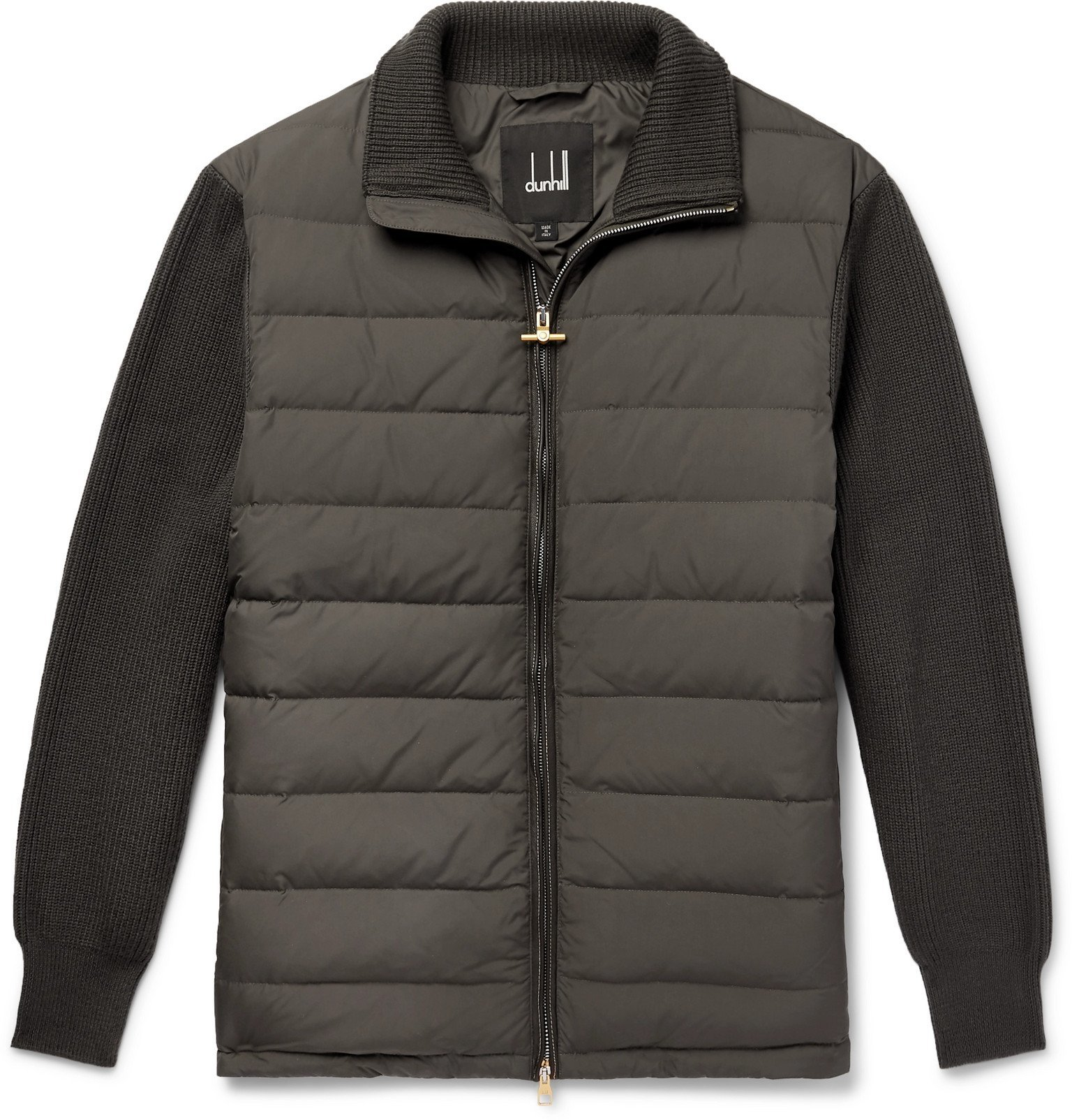 Dunhill - Ribbed Merino Wool-Blend and Quilted Shell Down Jacket - Gray
