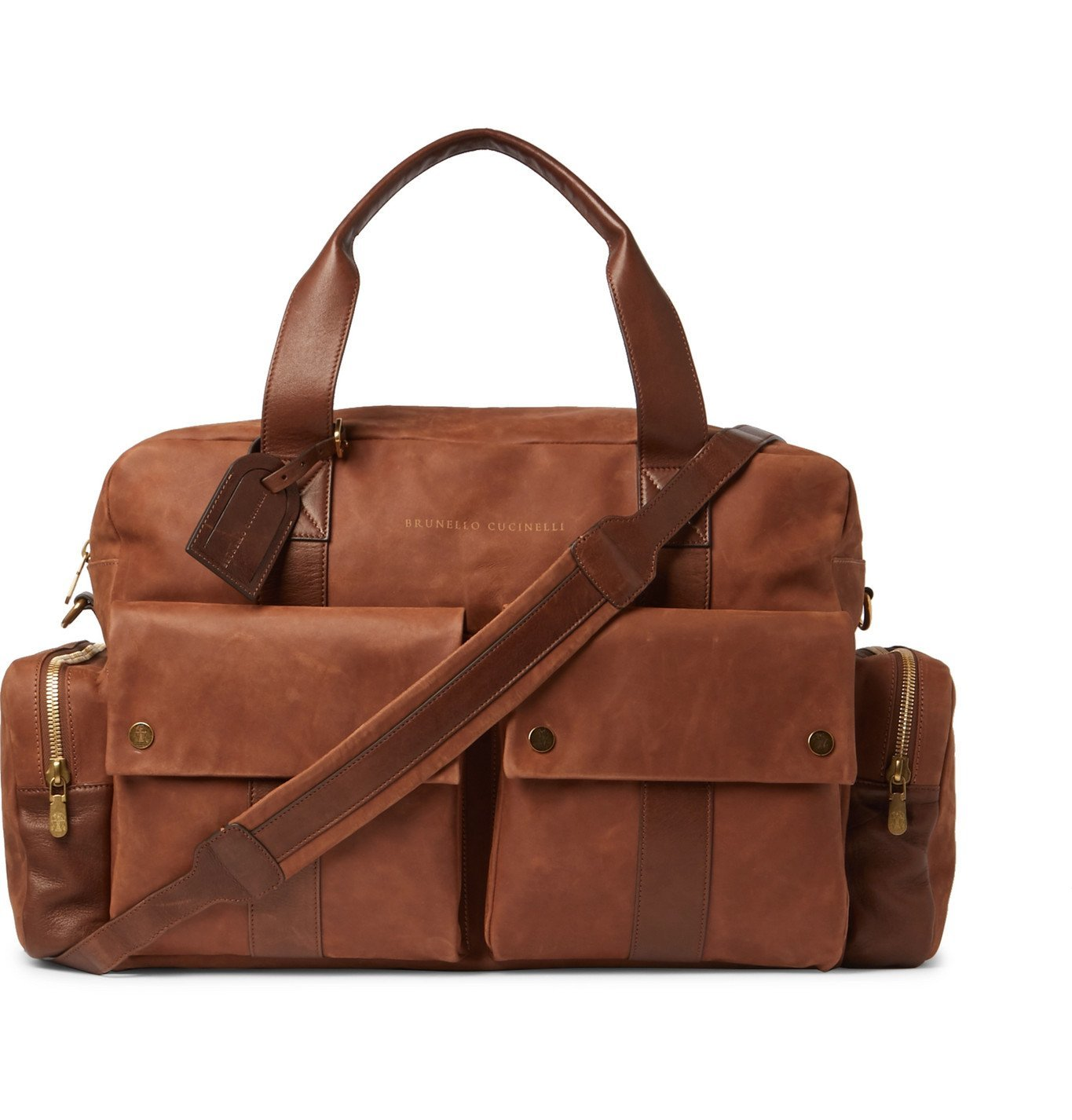 Photo: Brunello Cucinelli - Leather-Trimmed Nubuck Holdall - Brown