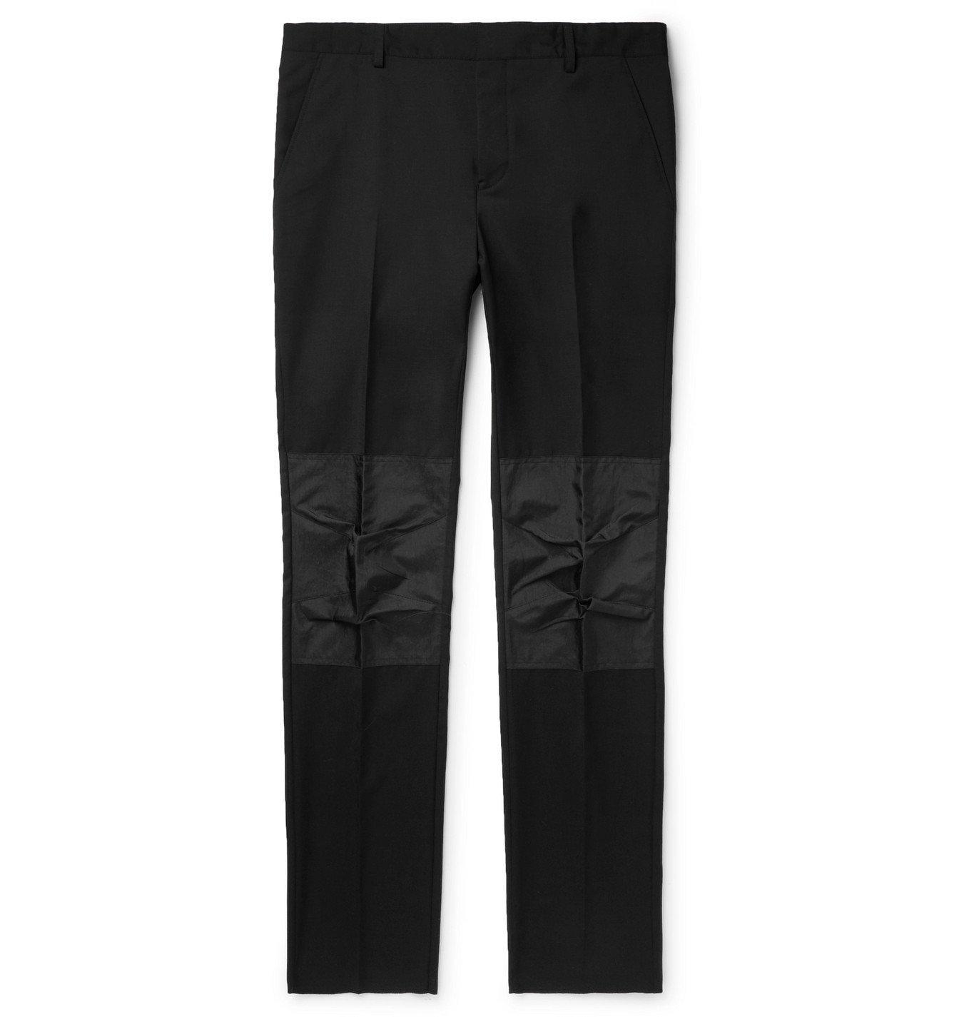 Photo: Lanvin - Black Slim-Fit Shell-Panelled Wool Trousers - Black