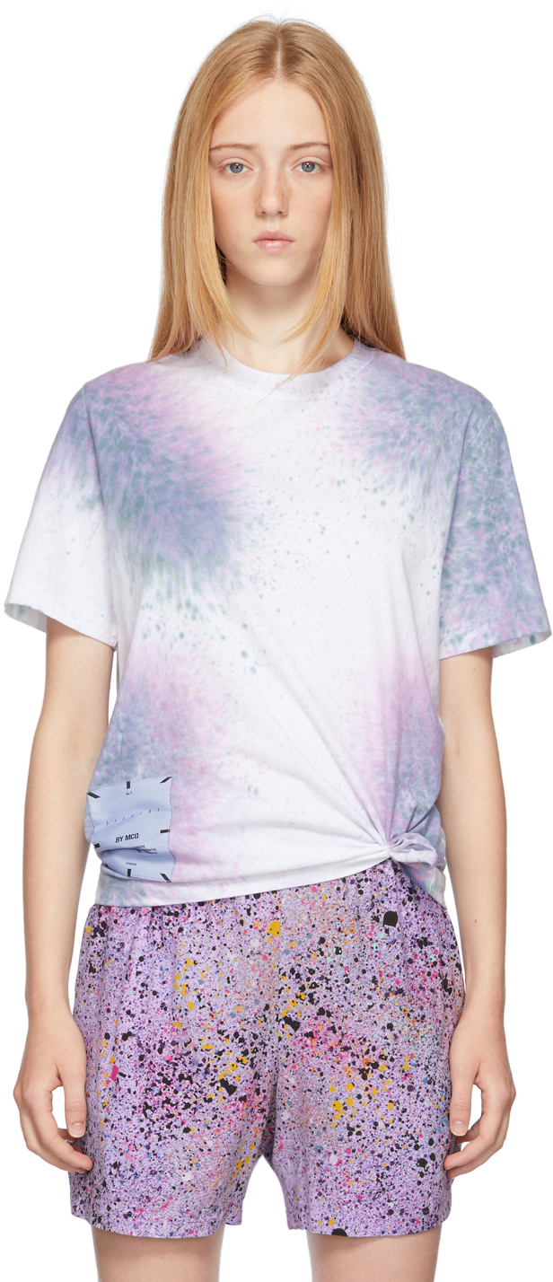 Photo: MCQ White & Purple Tie-Dye Relaxed T-Shirt