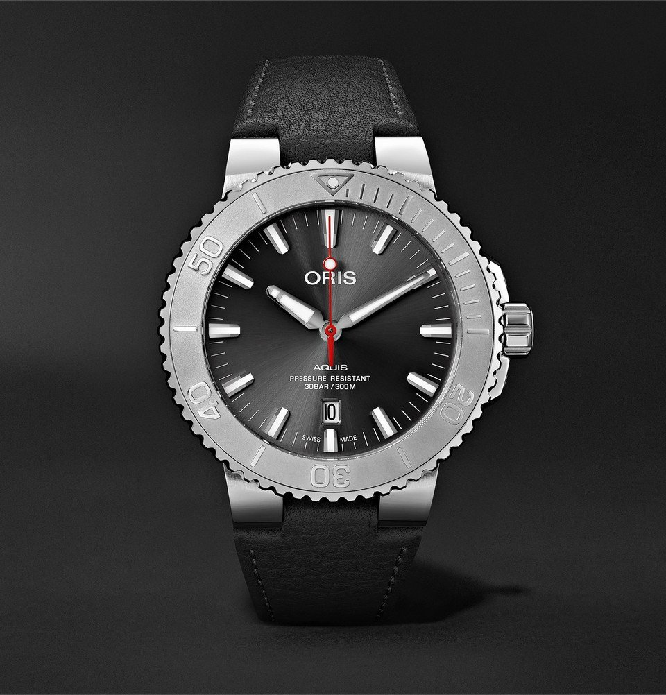 Oris - Aquis Date Relief Automatic 43.5mm Stainless Steel and Leather Watch - Black