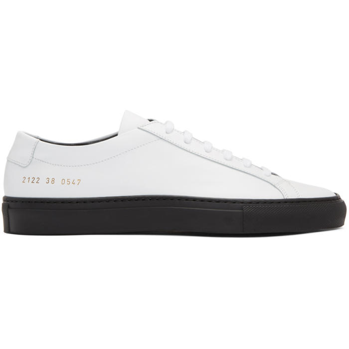 Common Projects White and Black Achilles Low Sneakers