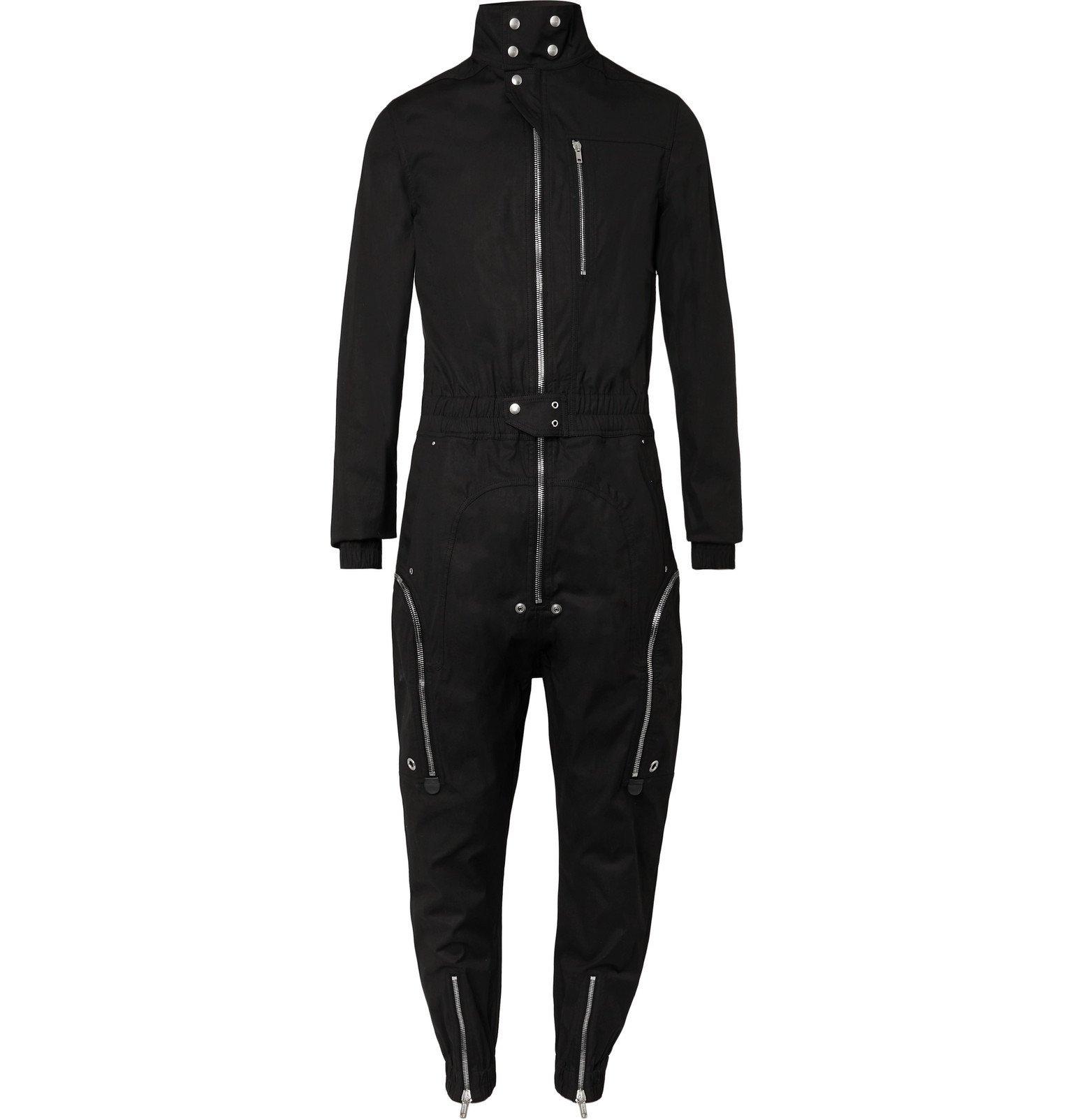 Photo: Rick Owens - Leather-Trimmed Cotton-Blend Canvas Jumpsuit - Black