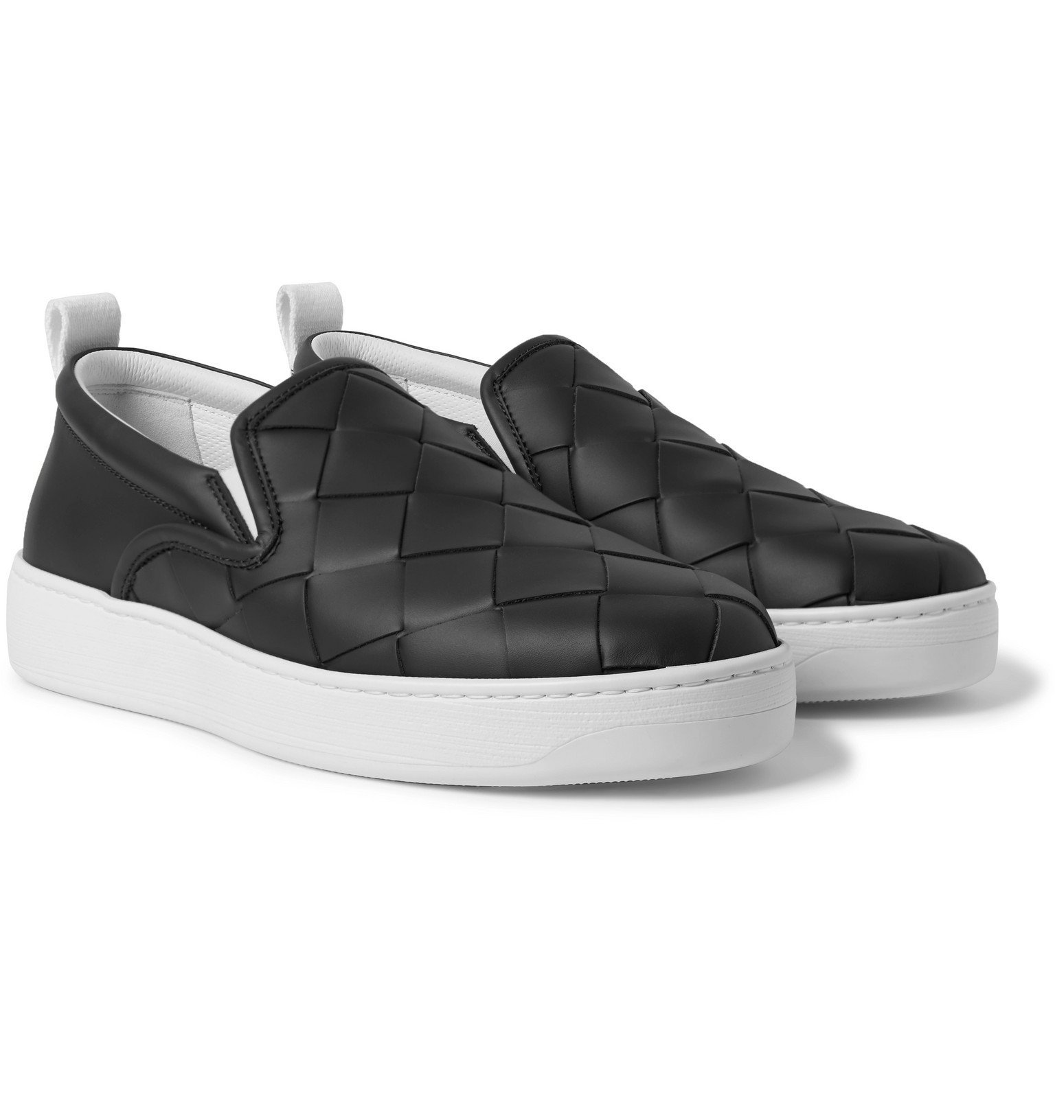 Photo: Bottega Veneta - Dodger Intrecciato Leather Slip-On Sneakers - Gray