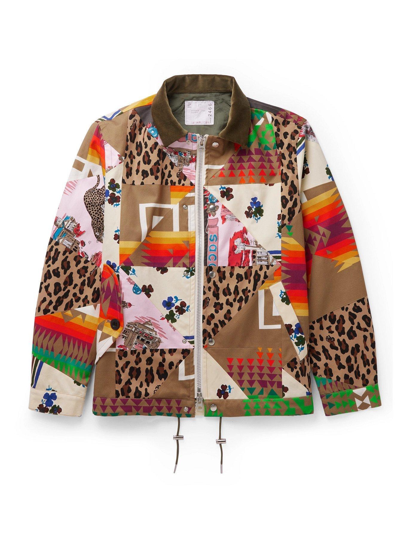 SACAI - Hank Willis Thomas Velvet-Trimmed Printed Cotton Bomber Jacket - Multi