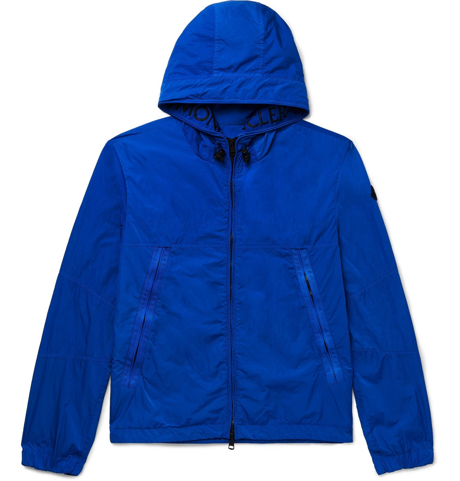 Photo: Moncler - *Logo-Embroidered Grosgrain-Trimmed Shell Jacket - Blue