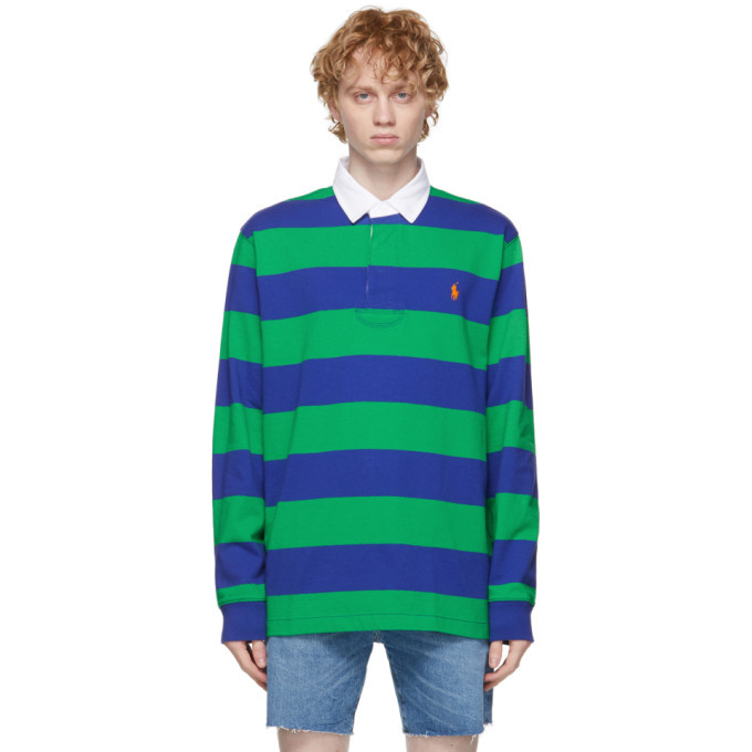 Photo: Polo Ralph Lauren Navy and Green Iconic Rugby Polo