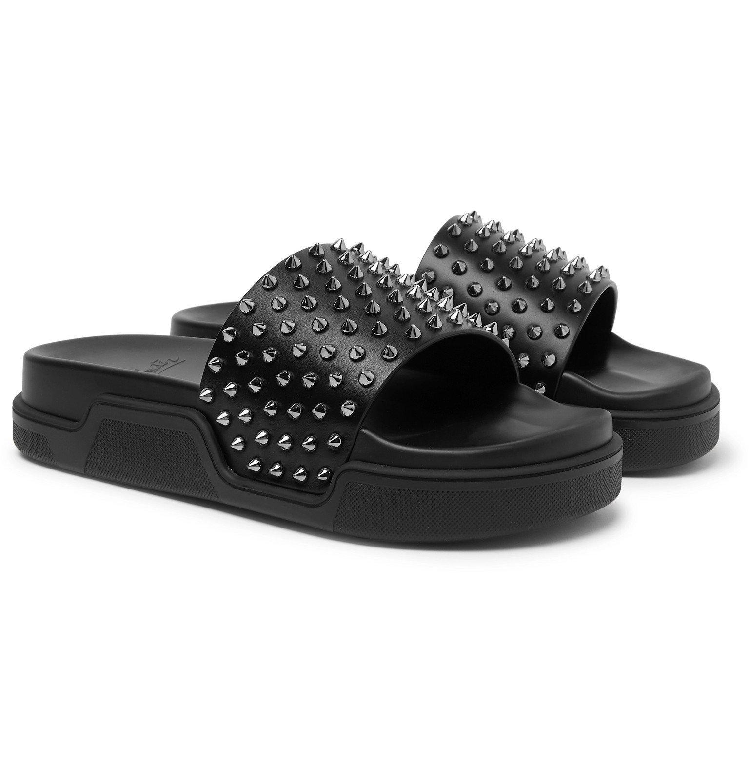 Photo: Christian Louboutin - Pool Fun Studded Leather Slides - Black