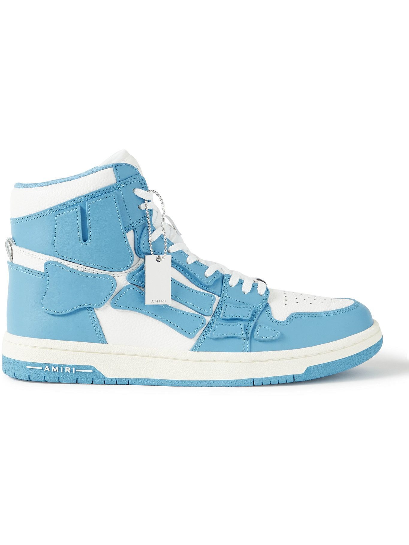 Photo: AMIRI - Skel-Top Colour-Block Leather High-Top Sneakers - Blue