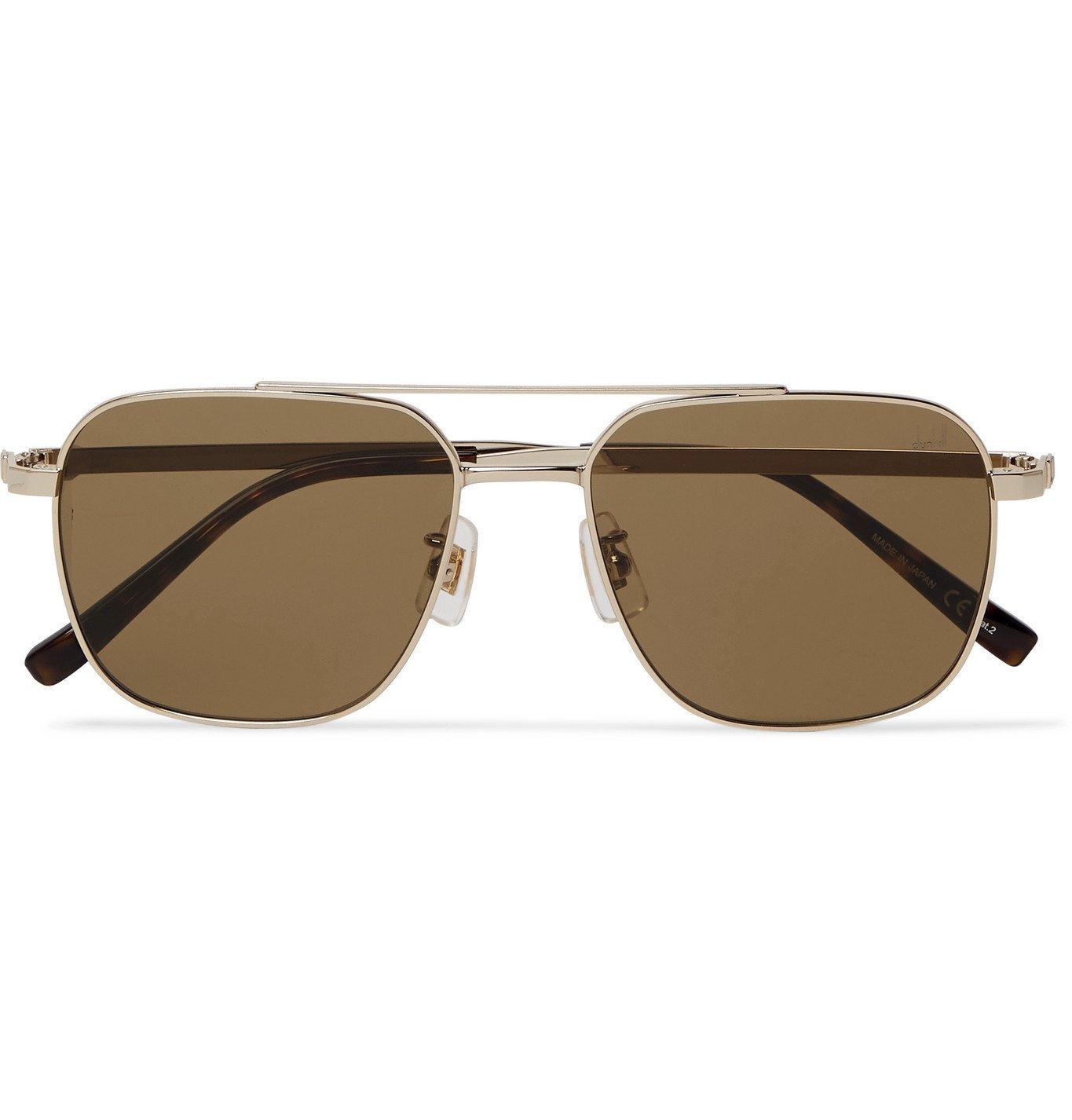 DUNHILL - Aviator-Style Gold-Tone and Tortoiseshell Acetate Sunglasses - Gold