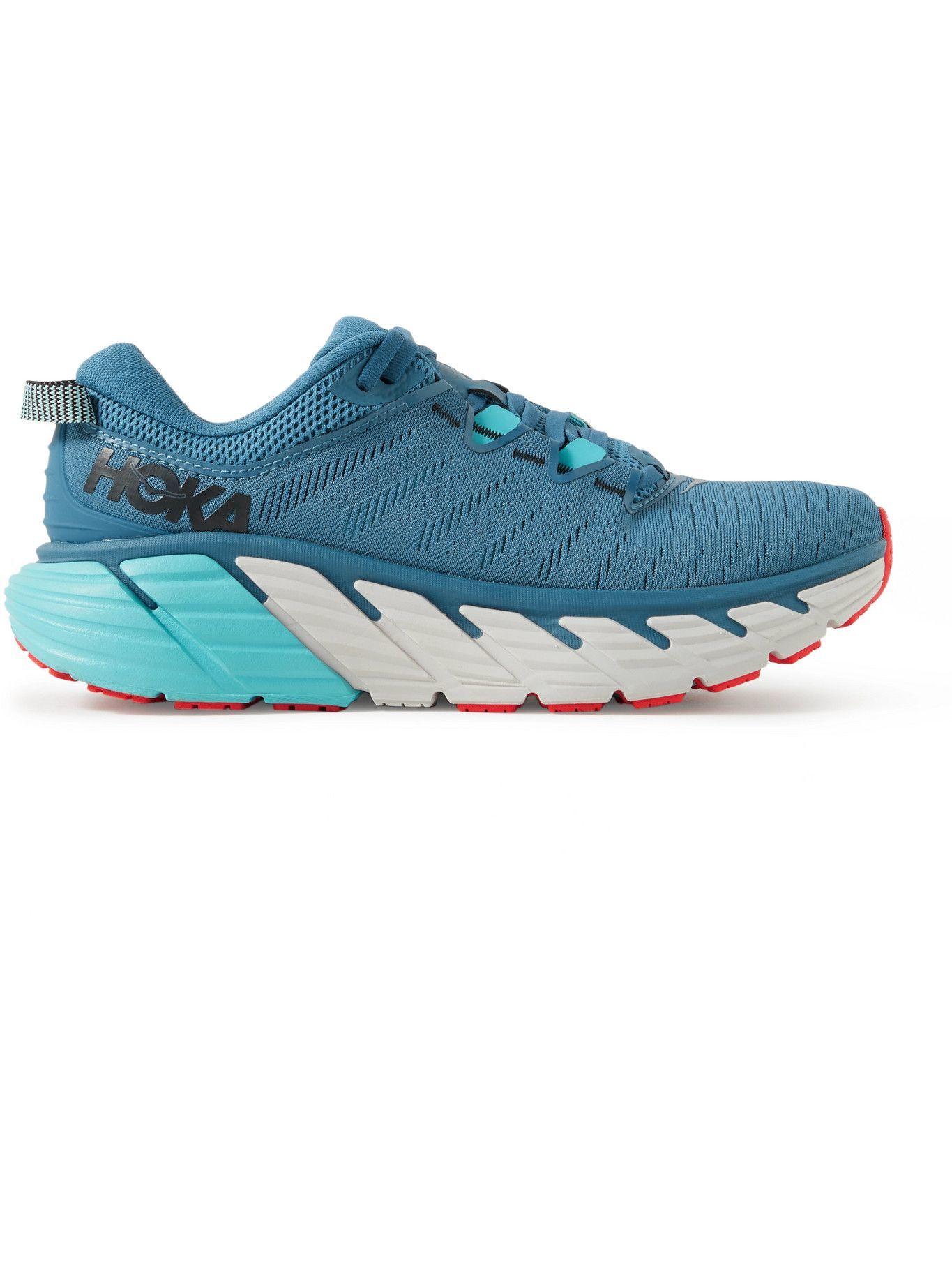 Photo: Hoka One One - Gaviota 3 Rubber-Trimmed Mesh Running Sneakers - Blue