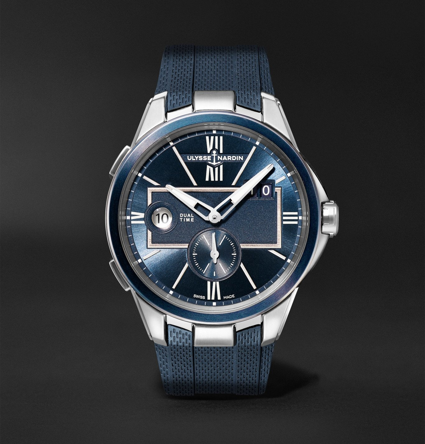 Photo: Ulysse Nardin - Dual Time Automatic 42mm Stainless Steel and Rubber Watch, Ref. No. 243-20-3/43 - Blue