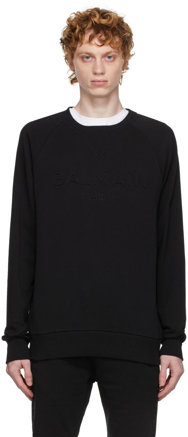Photo: Balmain Black Embossed Logo Sweatshirt