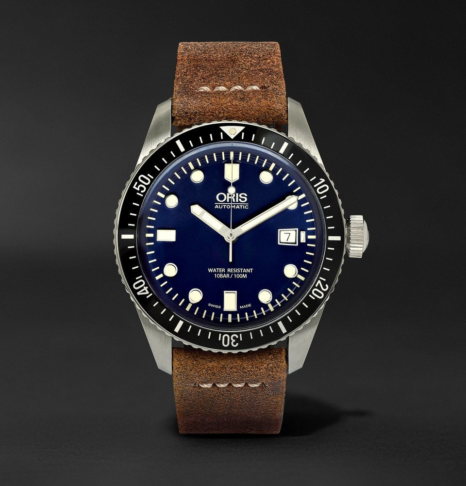 Photo: Oris - Divers Heritage 65 Automatic 42mm Stainless Steel and Suede Watch - Men - Blue