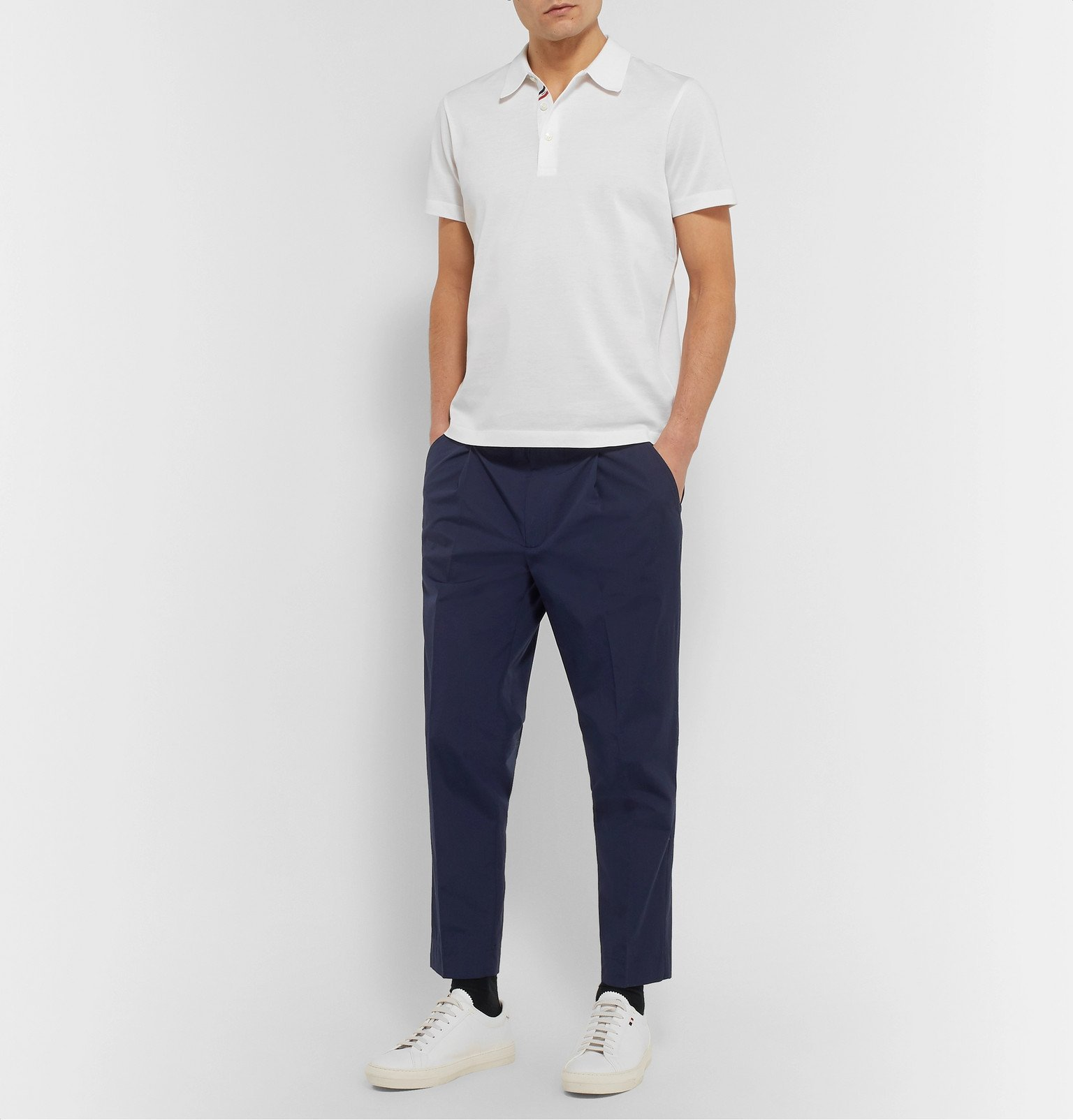 Moncler - Tapered Stretch-Cotton Track Pants - Blue