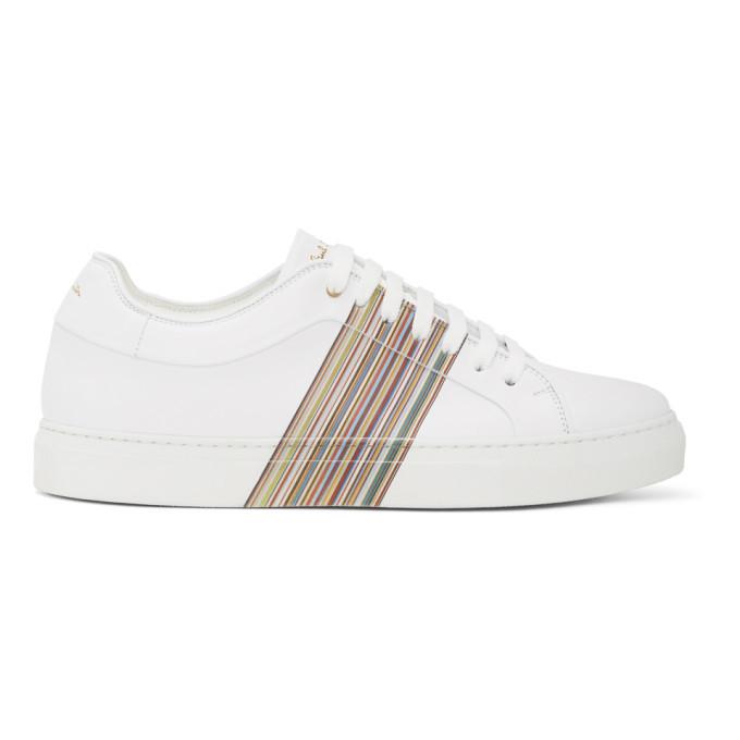 Photo: Paul Smith White Signature Stripe Panel Basso Sneakers
