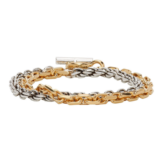 Photo: Bottega Veneta Silver and Gold Chain Bracelet