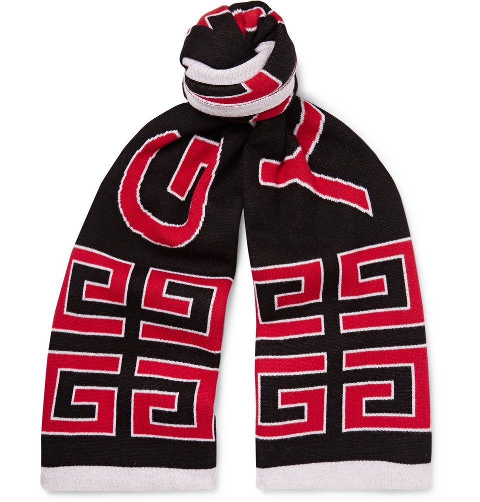 Photo: Givenchy - Logo-Jacquard Double-Faced Cotton Scarf - Black