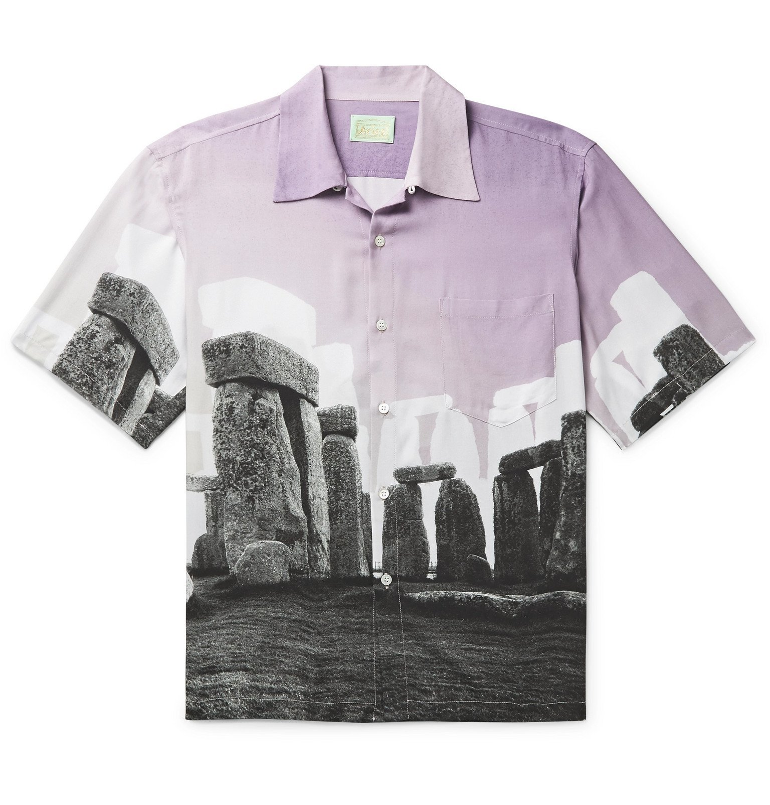Aries - Jeremy Deller Camp-Collar Printed Woven Shirt - Purple