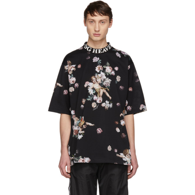 Photo: Dolce and Gabbana Black Heaven Flower Print T-Shirt