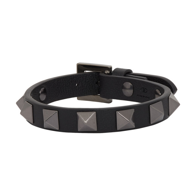 Photo: Valentino Black Valentino Garavani Leather Tonal Rockstud Bracelet