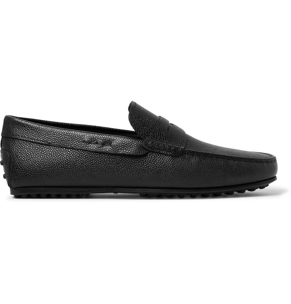 Tod's - City Gommino Pebble-Grain Leather Penny Loafers - Black