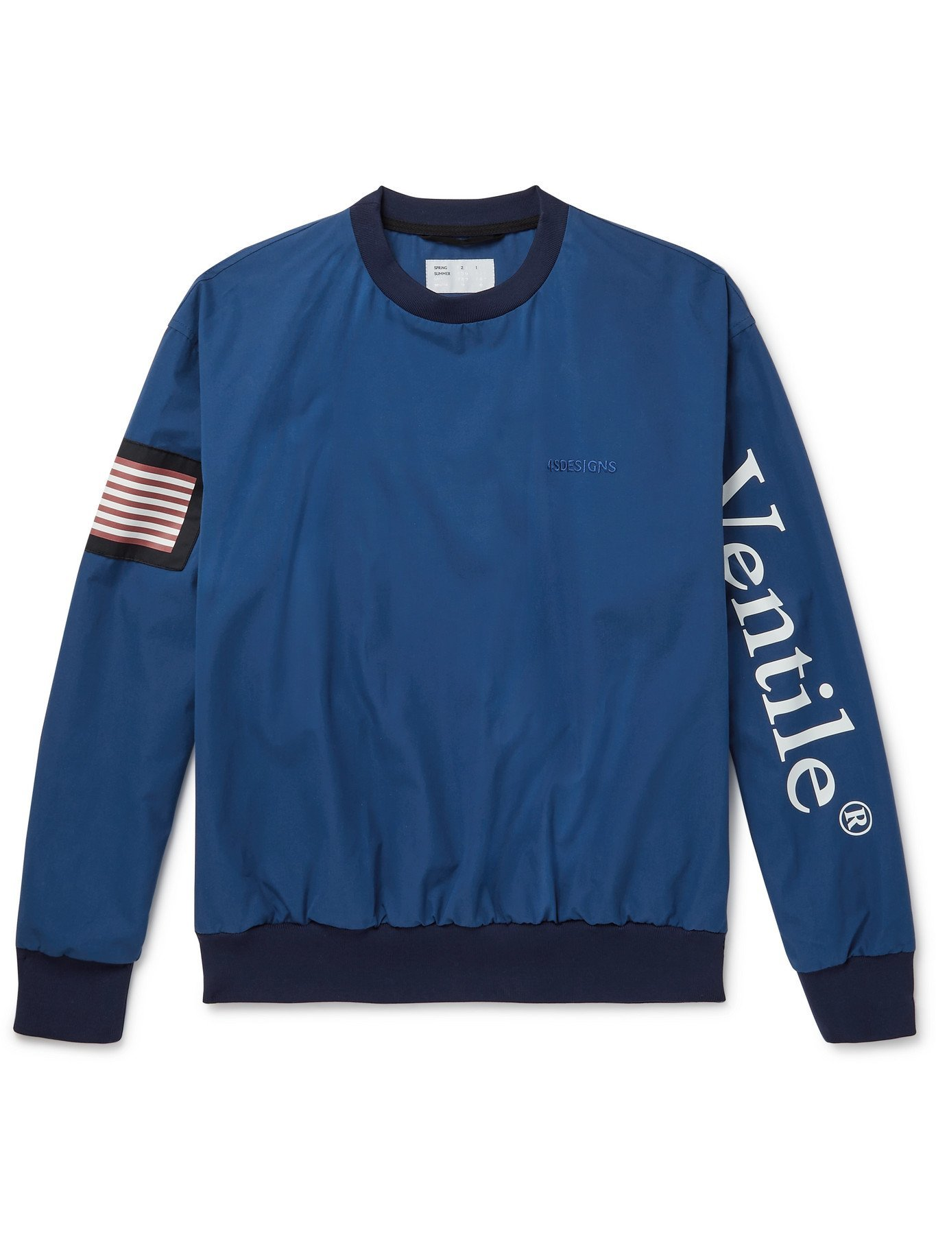 Photo: 4SDESIGNS - Logo-Embroidered Printed Cotton-Jersey Sweatshirt - Blue
