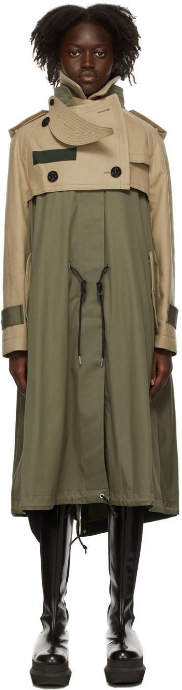 Photo: Sacai Khaki & Beige Wool Melton Coat