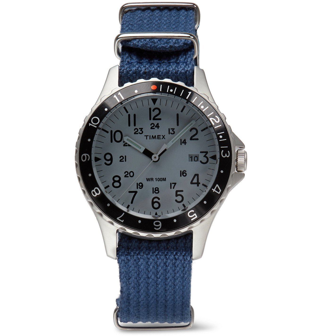Photo: Timex - Archive Navi Ocean 38mm Stainless Steel and Nylon-Webbing Watch - Blue