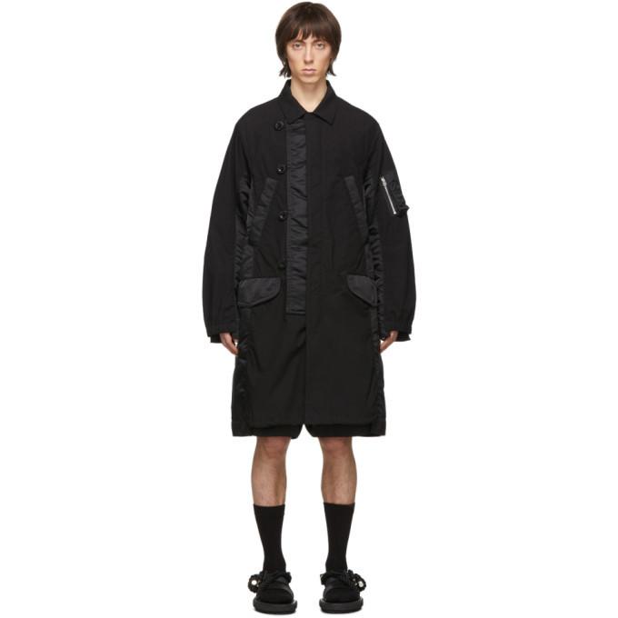 Sacai Black Fabric Combo Coat