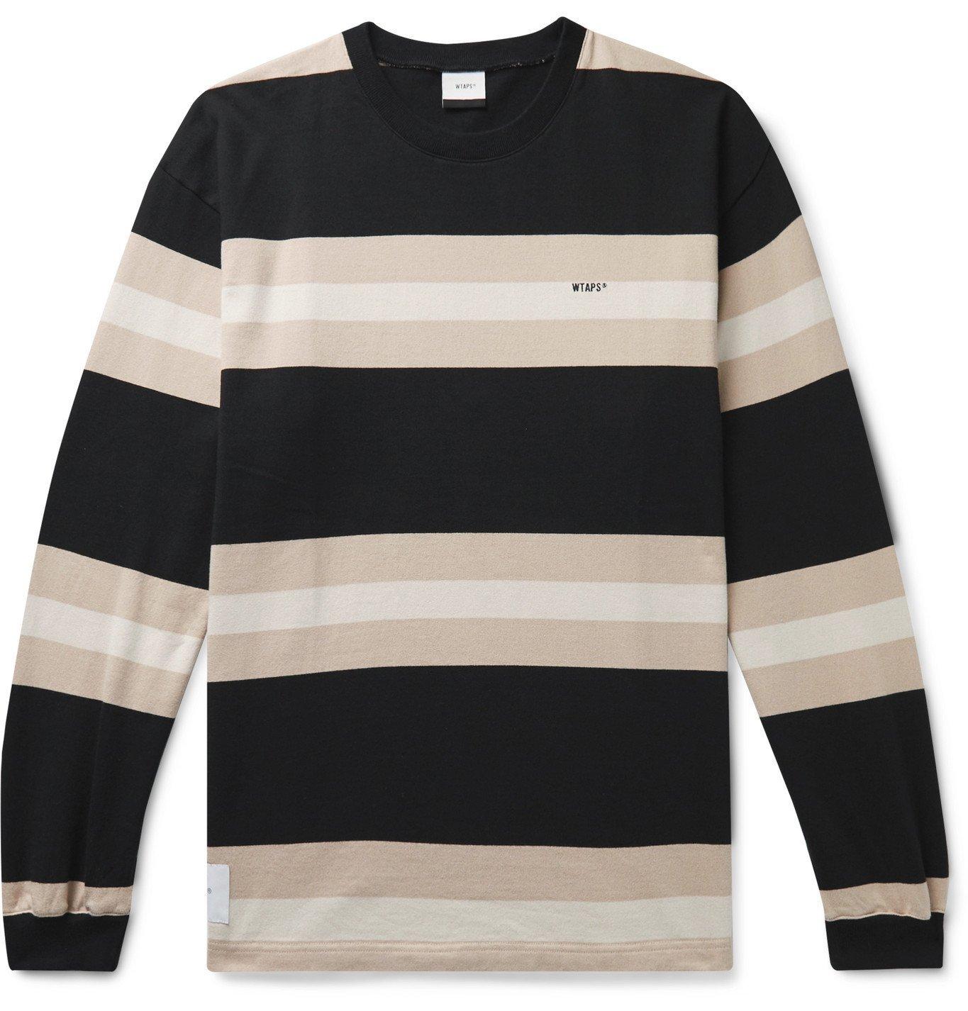 Photo: WTAPS - Vatos Logo-Embroidered Striped Cotton-Jersey T-Shirt - Black