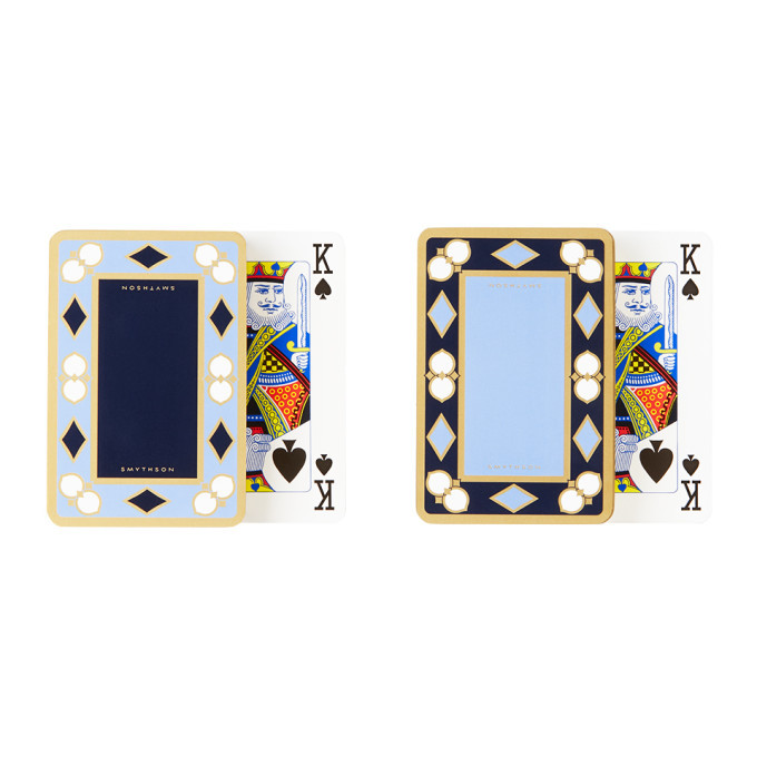 Photo: Smythson Blue and Gold Playing Card Twin Pack Set