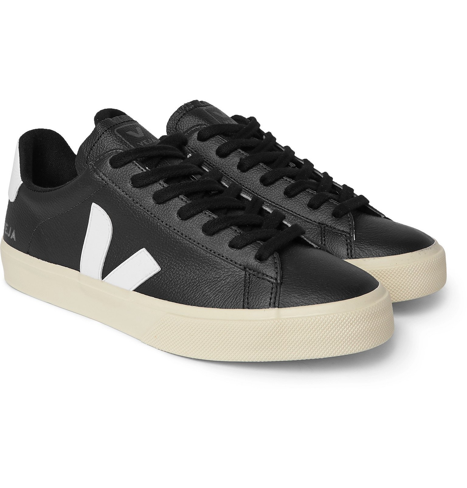 Photo: Veja - Campo Rubber-Trimmed Full-Grain Leather Sneakers - Black