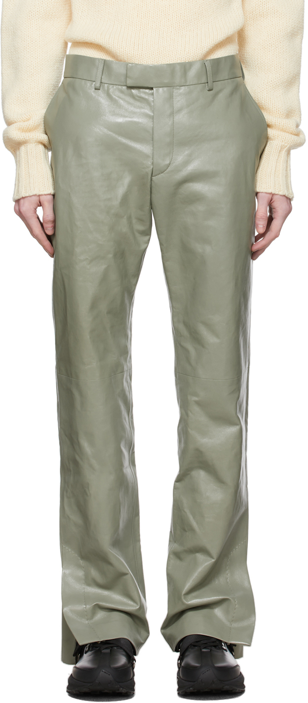Photo: Dunhill Green Leather Zip Trousers