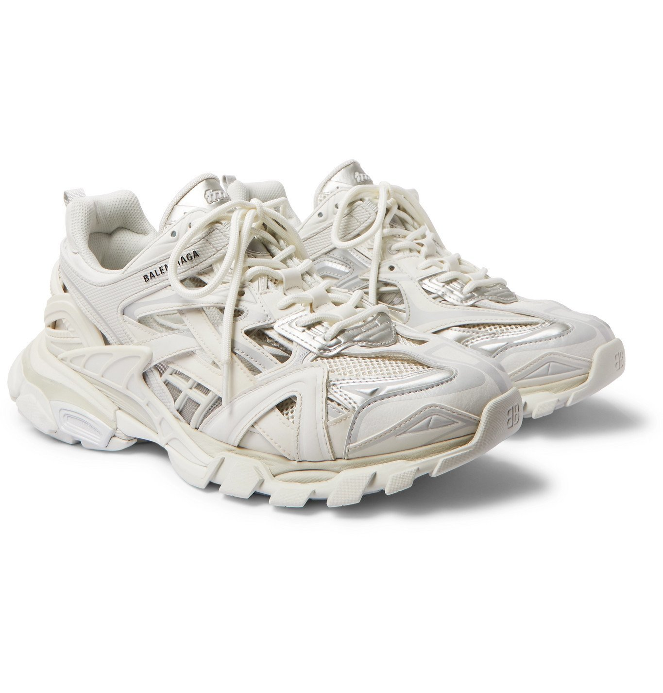 Photo: Balenciaga - Track.2 Nylon, Mesh and Rubber Sneakers - White