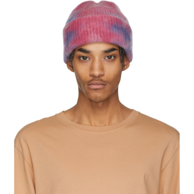 Photo: The Elder Statesman Pink and Blue Hot Dye Watchman Beanie