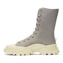 Raf Simons Grey and White adidas Originals Edition Detroit High Boots