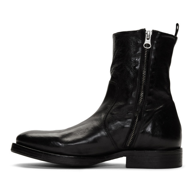 Officine Generale Black Washed Leather Zip-Up Boots