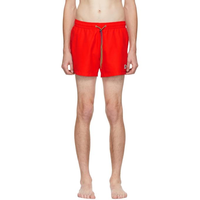 Photo: PS by Paul Smith Red Zebra Logo Swim Shorts