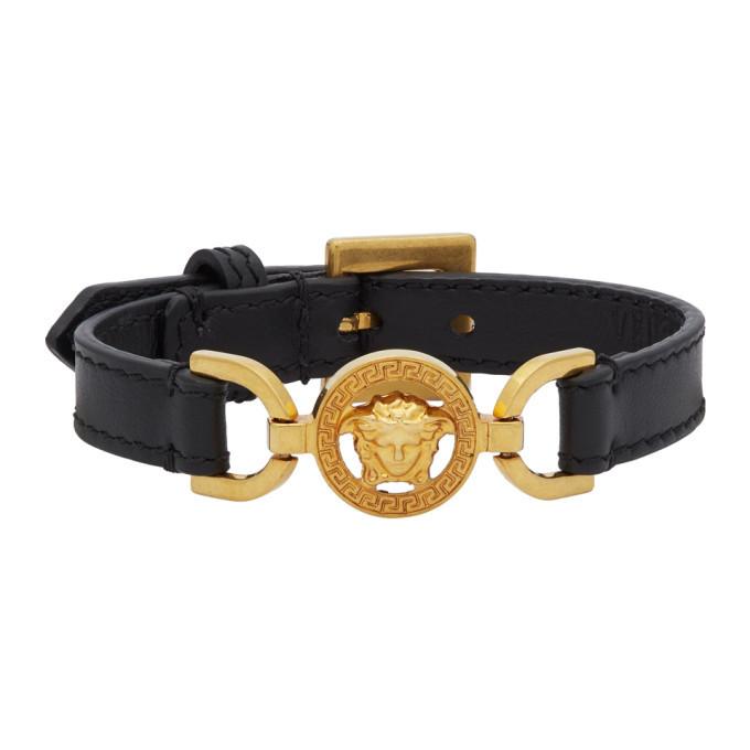 Photo: Versace Black and Gold Calfskin Medusa Bracelet