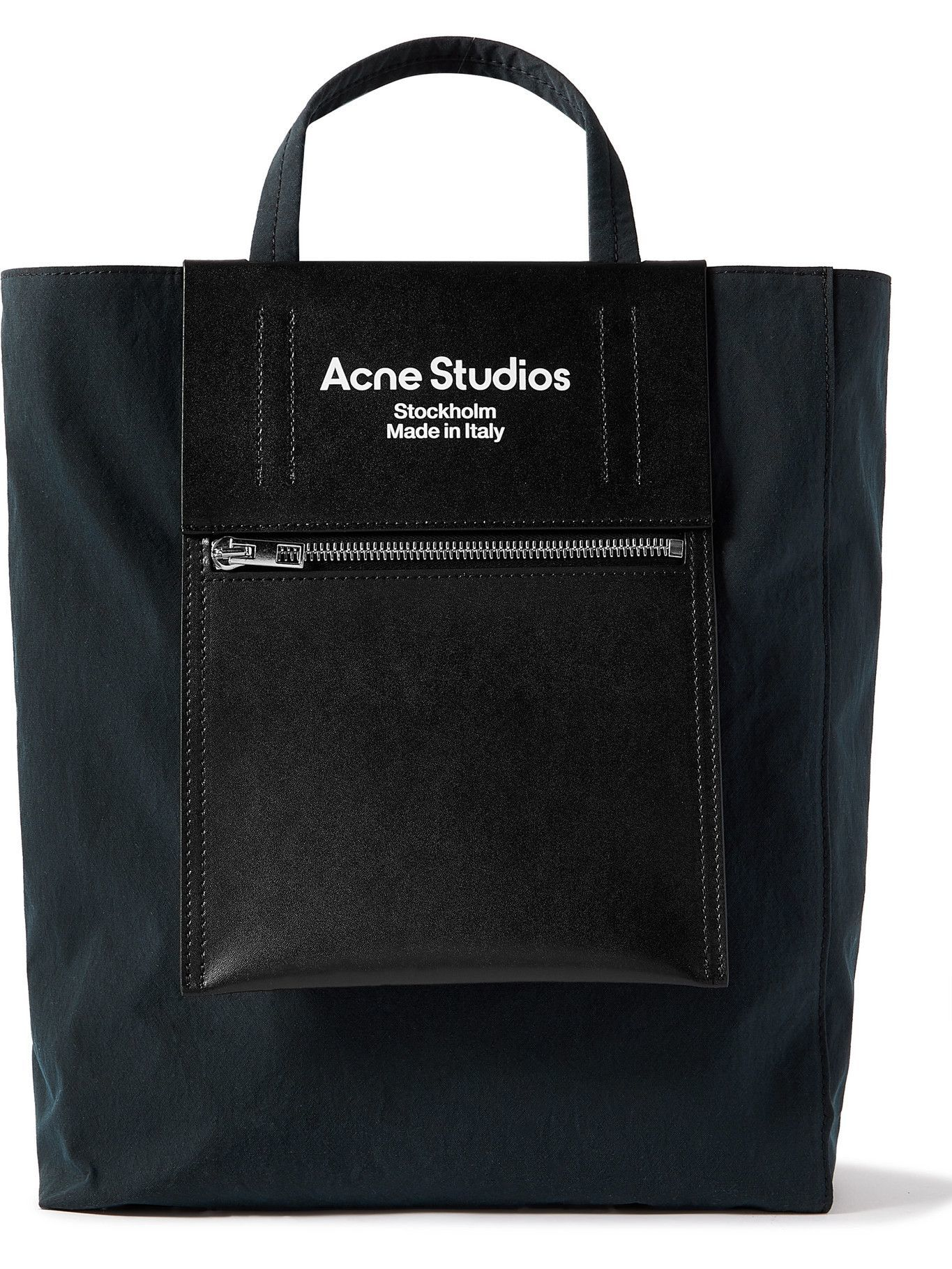 Photo: Acne Studios - Baker Out Logo-Print Leather and Nylon Tote Bag