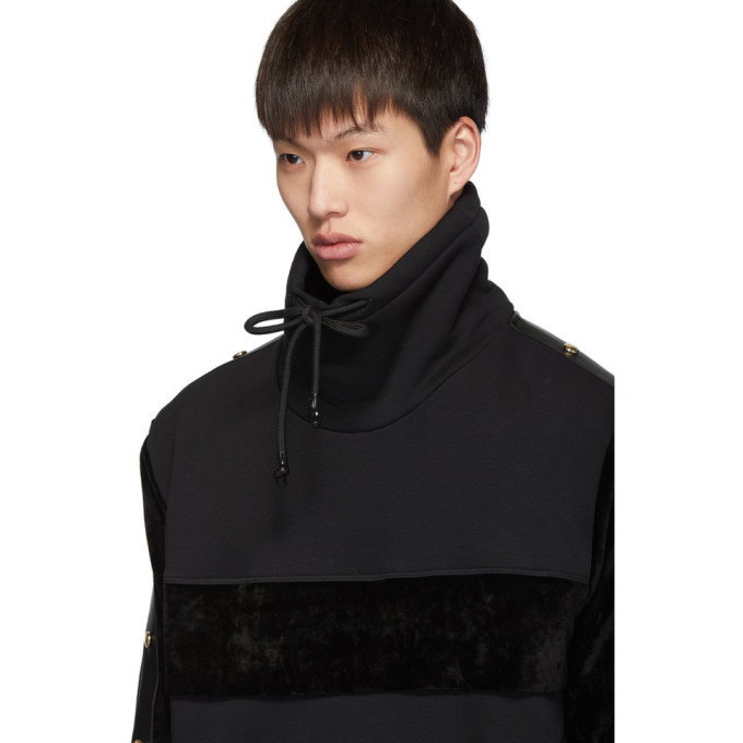 Versace Jeans Couture Black Velour Pullover Turtleneck