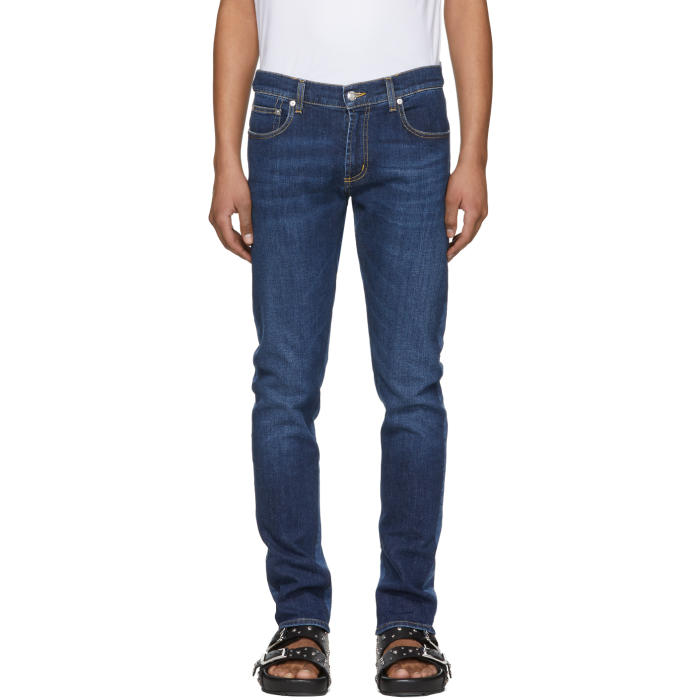 Photo: Alexander McQueen Blue Two-Tone Skinny Jeans