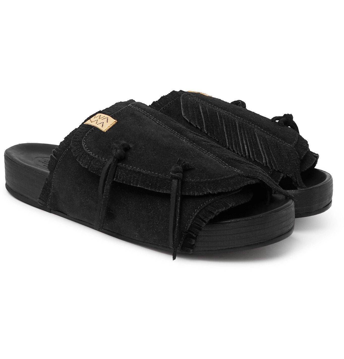 Photo: visvim - Christo Shaman-Folk Fringed Suede Sandals - Black